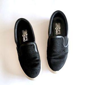 Salvatore Ferragamo Shoes - Ferragamo pacau 2 slip on sneaker black hair shoe